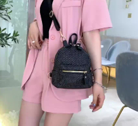 Weaving Summer Beach Literary Small Backpack Korean Shoulder Slung Shoulder Bag