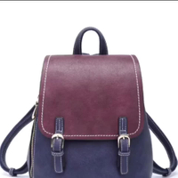 Stitching Color Backpack Women PU Leather Shoulder School Bags