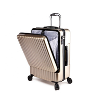 "Carry On Luggage 20"" Front Pocket Business Trolley Spinner Double TSA Locks Luggage"