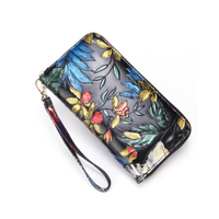 JUNYUAN Ethnic Style Woman Genuine Leather Wallet Clutch Bag Phoenix Vintage Clutch Bag