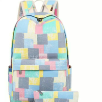 JUNYUAN Canvas Retro Contrast Geometric Print Backpack Student Bag