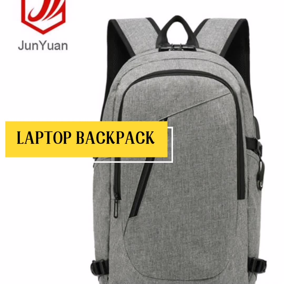 JUNYUAN Slim Anti Theft Business Laptop Backpack Bag With USB Charging Port