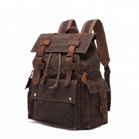 canvas leather bags Rucksack Travel Backpack