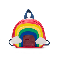 Cartoon Rainbow Pattern Backpack PU Transparent Jelly Baby Backpack