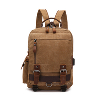 New USB Charging Anti-theft Multi-function Bag Canvas Backpack Canvas with Leather Bag