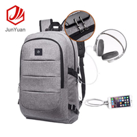 JUNYUAN Unisex Anti-theft Laptop Backpack With Headphone Port and USB Cable