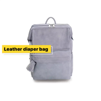 Leather Mummy Backpack Multi-function Large capacity Fashion Maternal Diaper Bag